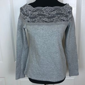H&M Gray Long Sleeve Lace Off-Shoulder Top Size M